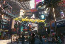 صورة يمكنك دخول عدد من المباني الموجودة بعالم لعبة Cyberpunk 2077 .