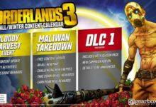 صورة الإعلان عن المحتويات الإضافية القادمة للعبة Borderlands 3 بعد الإطلاق .