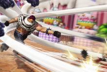 صورة مجموعة من الصور الخاصة بلعبة One Piece: Pirate Warriors 4 تسلط الضوء على شخصيات Luffy و Charlotte Katakuri .