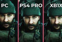 صورة مقارنة رسوم لعبة Call of Duty الجديدة مع الاجهزة المنزلية والحاسب والحاسب الشخصي
