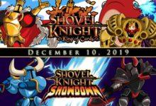 صورة الإعلان عن موعد إصدار نسخة المتاجر من ألعاب Shovel Knight: King of Cards و Shovel Knight: Showdown .