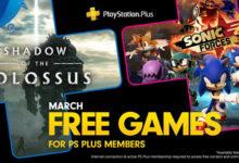صورة الإعلان بشكل رسمي عن قائمة الألعاب المجانية القادمة لخدمة PS Plus لشهر مارس .