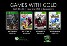 صورة الإعلان عن الألعاب المجانية القادمة لمشتركي خدمة Xbox Live Gold خلال شهر مارس .
