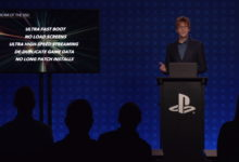 صورة شركة Sony توضح مزايا وجود وحدة تخزين من نوع SSD بجهاز PS5 .
