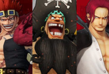 صورة لنتعرف على شخصيات Eustass Kid و Marshall D. Teach و Shanks من لعبة One Piece: Pirate Warriors 4 .