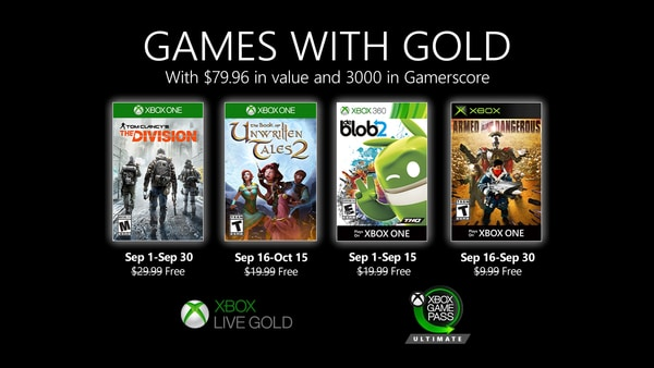 Xbox Live Gold Games with Gold 08 27 20