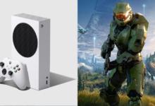 صورة جهاز Xbox Series S يحتوي على إشارة لشخصية Master Chief بداخله .