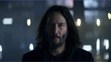صورة الممثل Keanu Reeves بطل الإعلان التلفزيوني الجديد للعبة Cyberpunk 2077 .